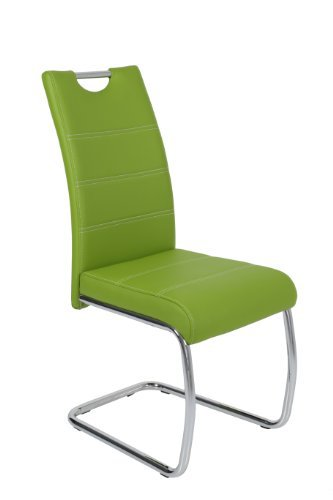 4er Set Apollo 810857 Schwingstuhl, grün, Metallgestell verchromt, Lederlook