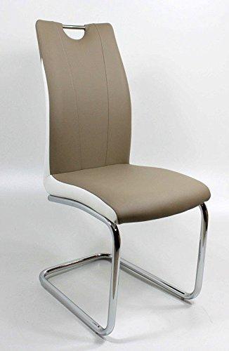 Schwingstuhl / Freischwinger Esszimmerstuhl Ciara Cappuccino mit weiß