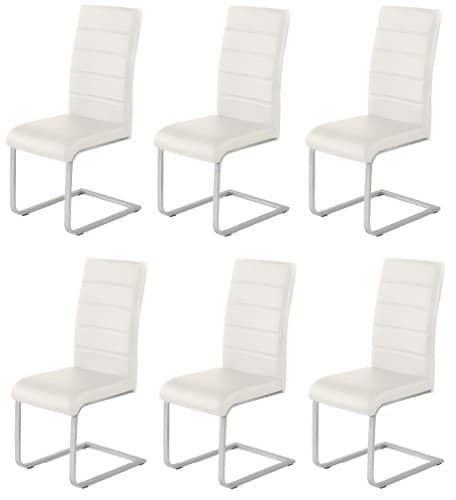 6 x Design Stuhl Freischwinger Piet 32 Kunstleder creme Esszimmerstuhl
