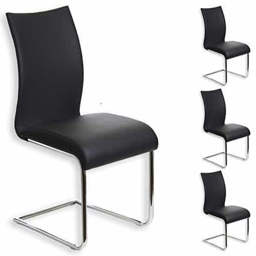 4er Set Schwingstuhl ALADINO chrom/schwarz