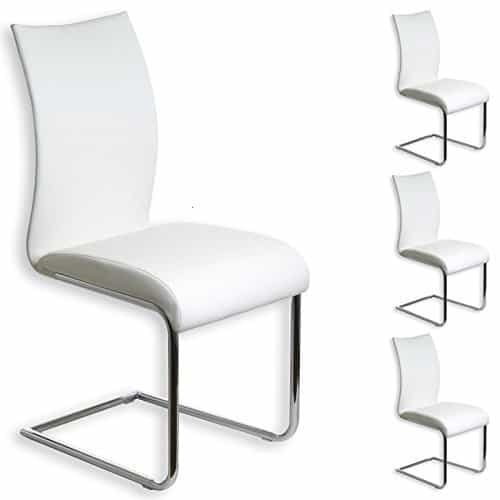 4er Set Schwingstuhl ALADINO chrom/weiß