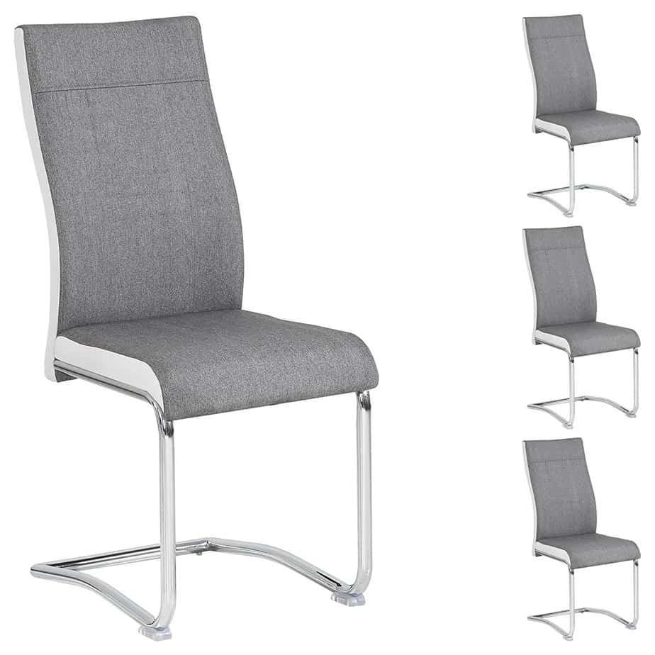 4er Set Schwingstuhl ALBA,grau und weiß.