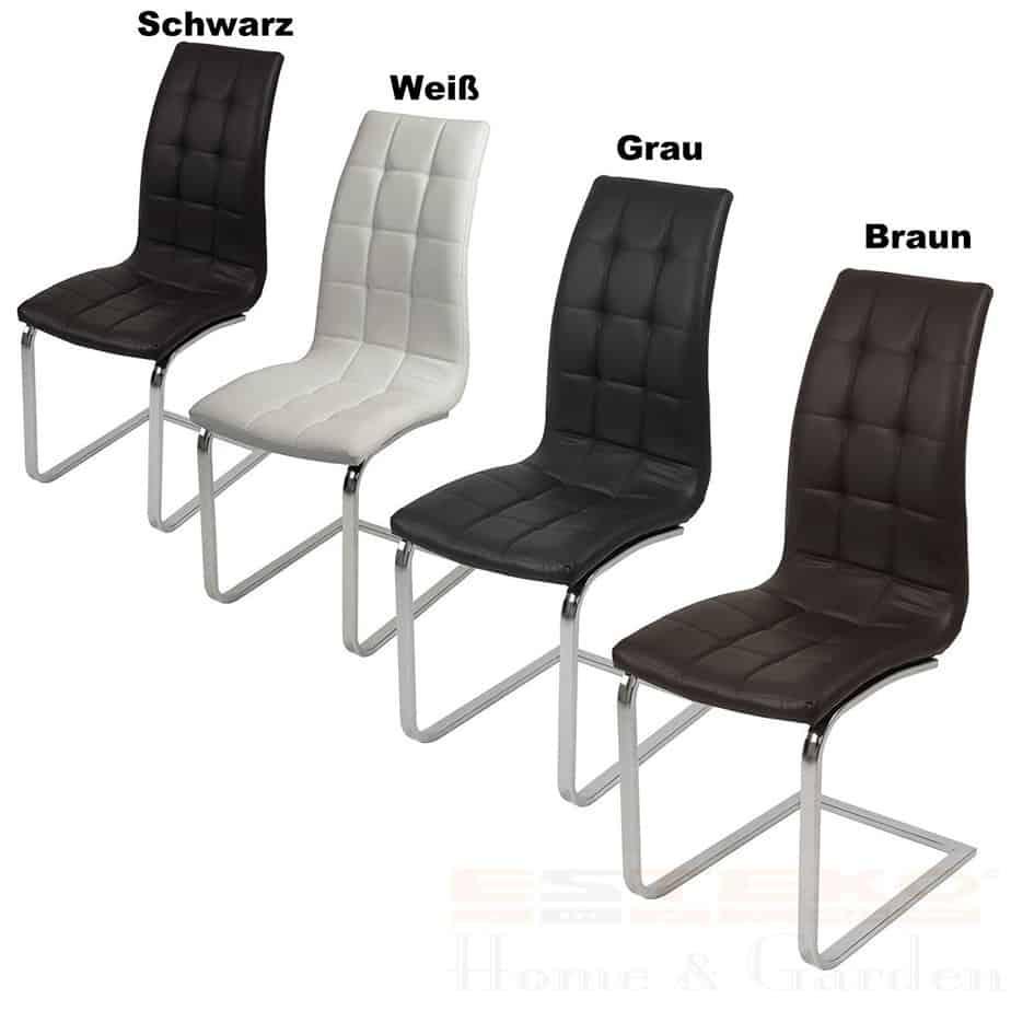 2er Set Esszimmerstühle, Echtleder, braun.