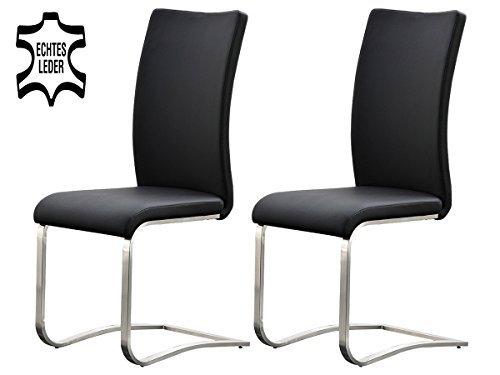 2er Set Schwingstuhl Stuhl Schwinger Esszimmerstuhl Freischwinger Echtleder