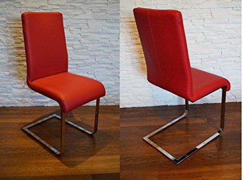 Rot Echtleder Schwingstuhl Stühle